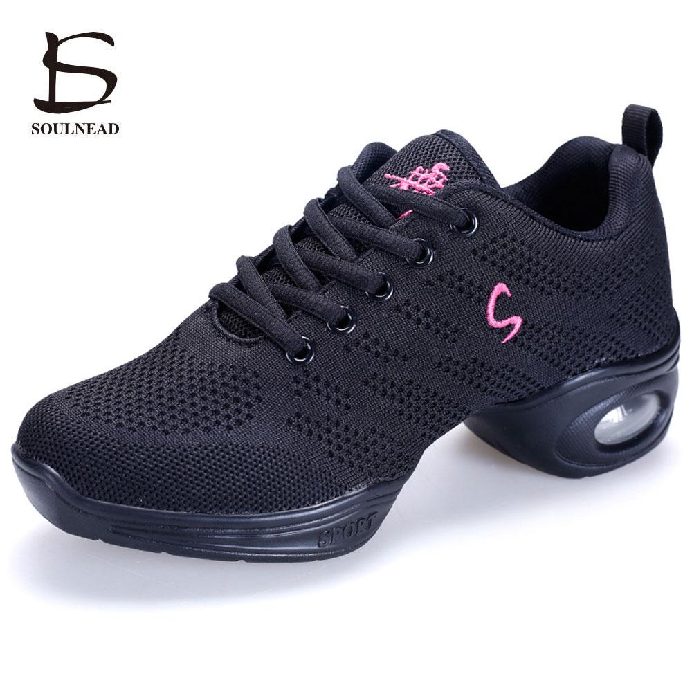 Nuevas zapatillas de deporte de las mujeres zapatos de baile Flying Weave transpirable Cozy Jazz Shoes Ladies Fitness Dancing Shoes Zapatos deportivos de alta calidad
