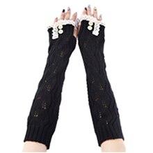 Women's Crochet Long Fingerless Gloves with Thumb Hole (1-Lace Black)