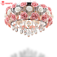 LED Crystal Chandelier Lustres De Sala Beautiful Rose Style Hanging Lamps With Led Bulbs For Bedroom