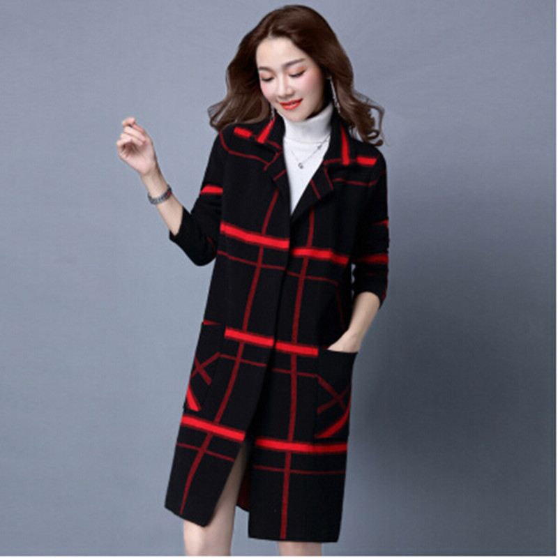 2017 autumn and winter new women 's Korean version of the plaid jacket in the loose long large woolen woolen knitted coat 2017 winter in the long section of the cotton men korean version of the loose hong wind thickening of large yards of clothing