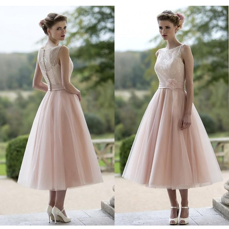 Tea Length Blush Pink Wedding Dresses 2017 Robe De Mariage