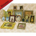4PCS VINTAGE Miniature Dollhouse Framed Wall Painting 1:12 Scale Doll House Home Decor Accessories