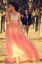 CYF27 Bling Bling Crystal Arabic Long Peach Prom Dresses 2016 Hot  Cap Sleeve Tulle Evening Dress Vestidos De Formatura Curto