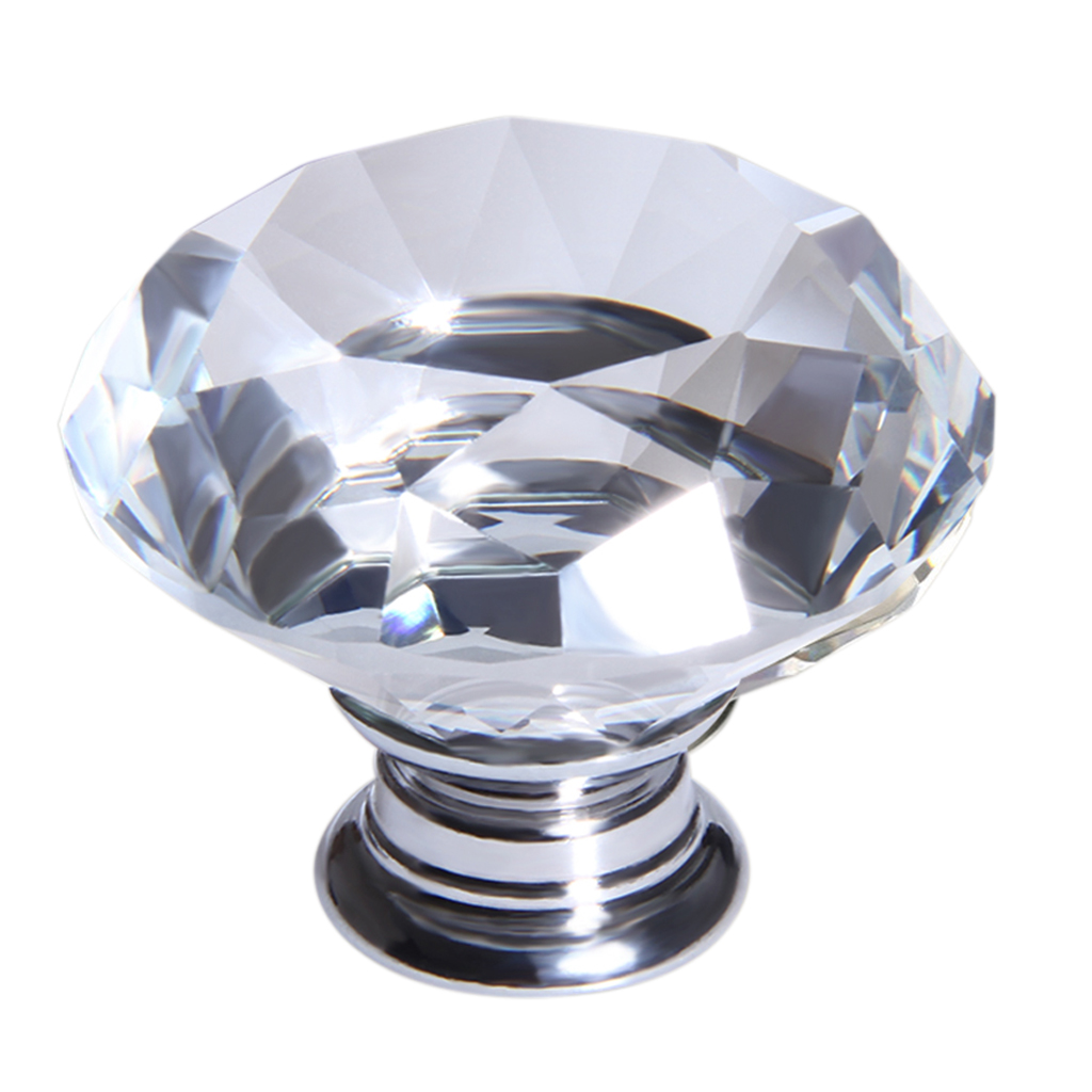 10X 40mm Clear Crystal Glass Door Knob Drawer Cabinet ...
