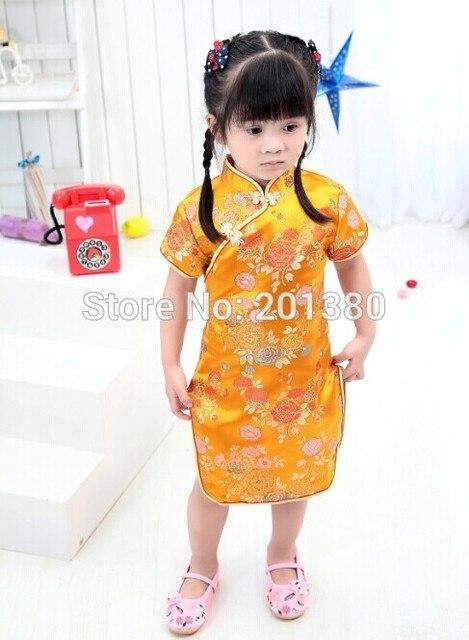 4ebc3dc9b59f21 Gold New Year Baby Girl Dress Chinese Spring Festival Children Clothes  chi-pao qipao cheongsam