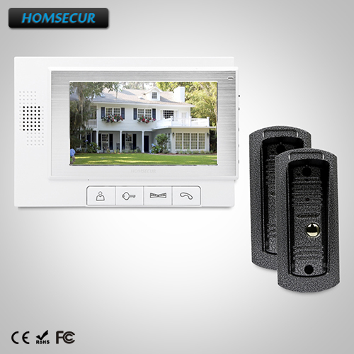 HOMSECUR 7 Hands-free Video&Audio Home Intercom+One Button Unlock for Apartment TC041 + TM702-W