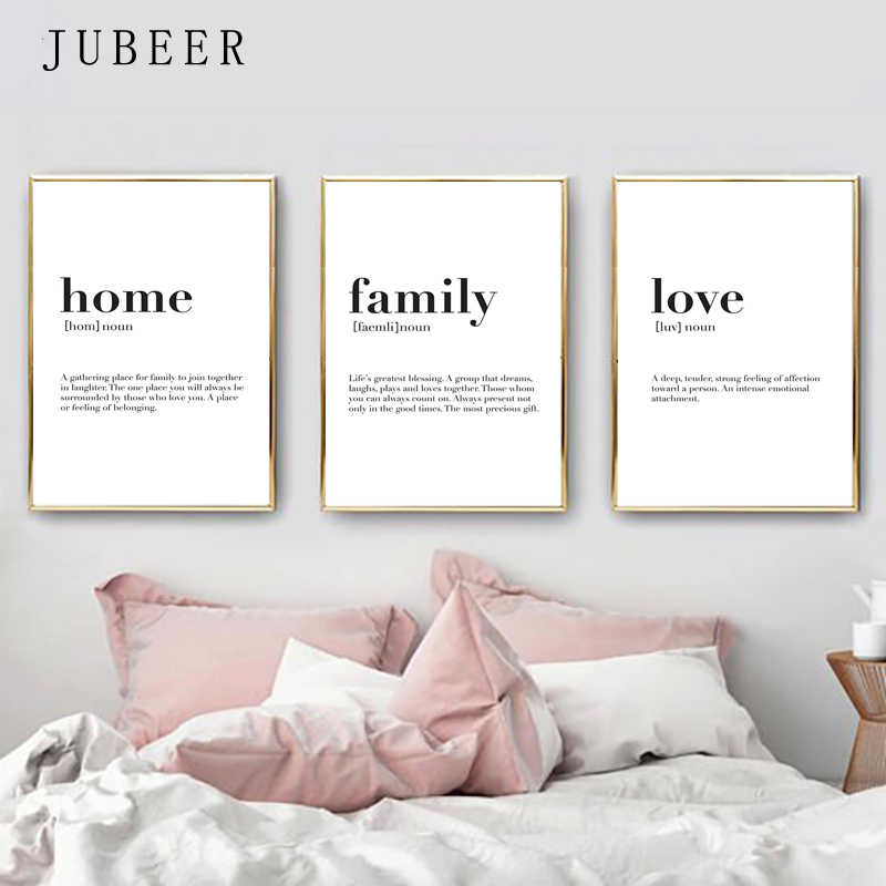 Nordic Style Family Wall Art Love Posters and Prints Set Of 3 Print Minimalist Canvas Painting For Living Room Home Decor