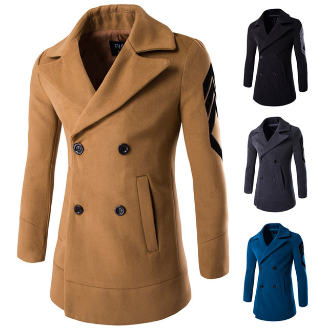 Mens Classic Wool Double Breasted Pea Coat Trench Coat winter seasons for winter high quality