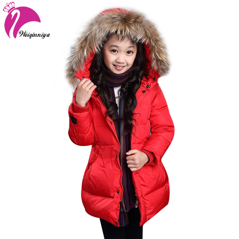 Girls Long Jacket Clothes New Brand Arrivals 2017 Winter Fashion Fur Collar Outerwear Down & Parka Add Cotton Warm Kids Coats new 2017 winter women coat long cotton jacket fur collar hooded 2 sides wear outerwear casual parka plus size manteau femme 0456
