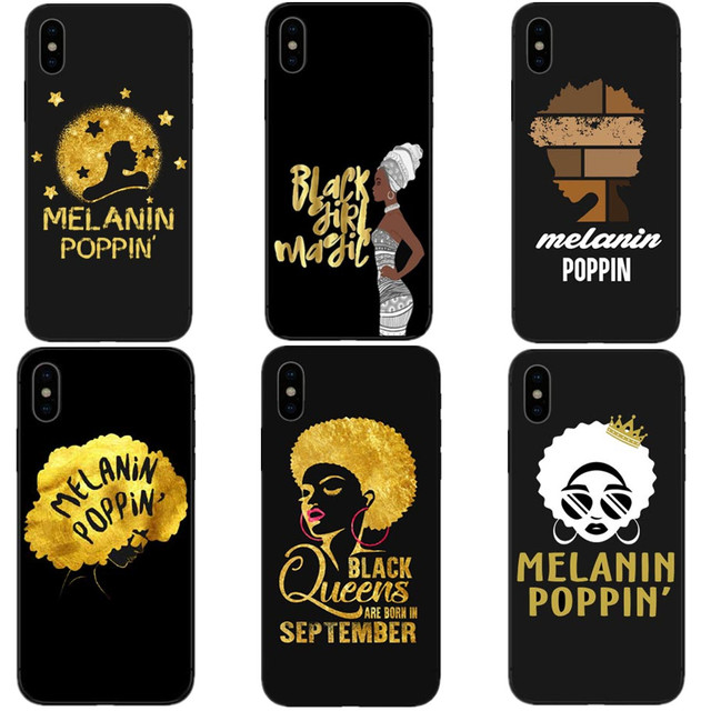 quality design 762c4 4e372 US $1.21 39% OFF|Fashion Golden Melanin Poppin Queen Black Hard Phone Cases  Cover for iPhone 6 6S Plus 7 XR XS Max 8 8 Plus 5S SE X 10 Coque Capa-in ...