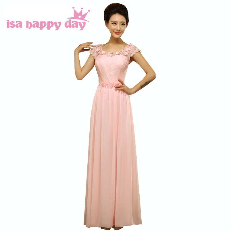 Cheap Long Lace Bridesmaid Tank Tops Woman's Day Formal Special Occasion Dresses Floor Length A-line Dress Light Pink Lace H2700