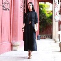 LZJN Original Design Black Women Dress Jacquard Cotton Cheongsam Side Slit Chinese Dress Qipao Long Sleeve Vintage Robe 1122
