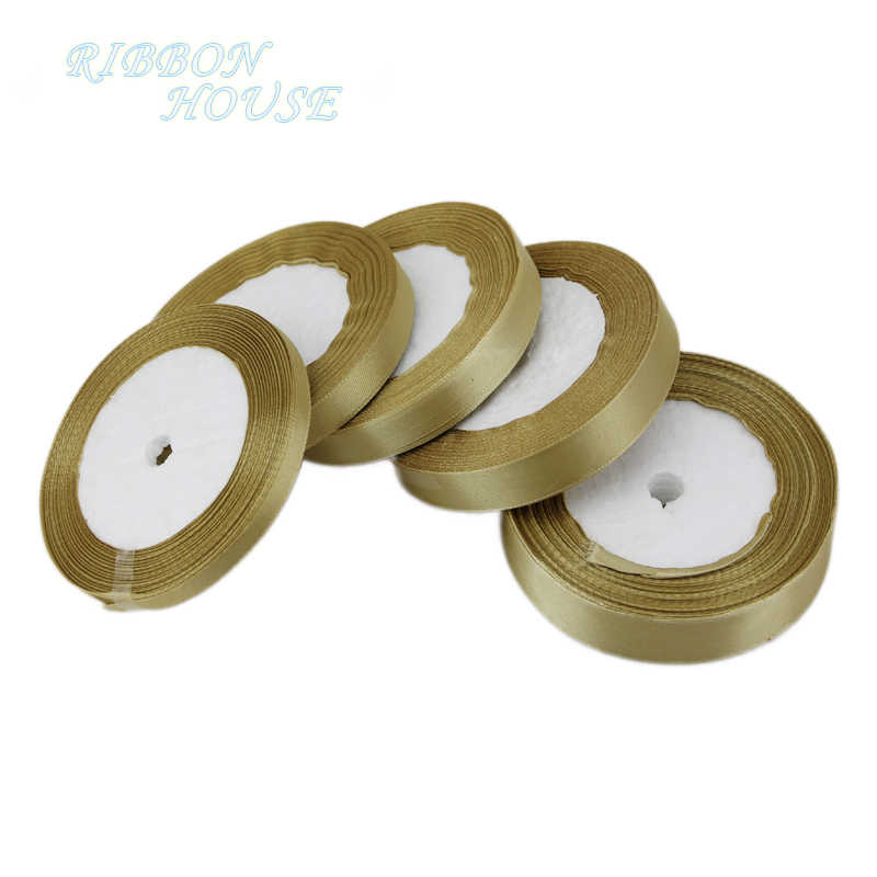 (25 yards/roll) pale gold Satin Ribbon Wholesale Gift Wrapping Christmas ribbons