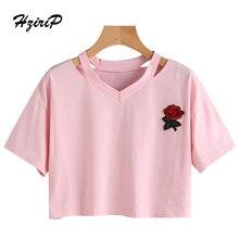 HziriP Women T-shirt Embroidery Floral  Hot Sale Basic Top Short Casual Pink Fashion 2017 Summer Female Shirt Ladies Tee Shirts