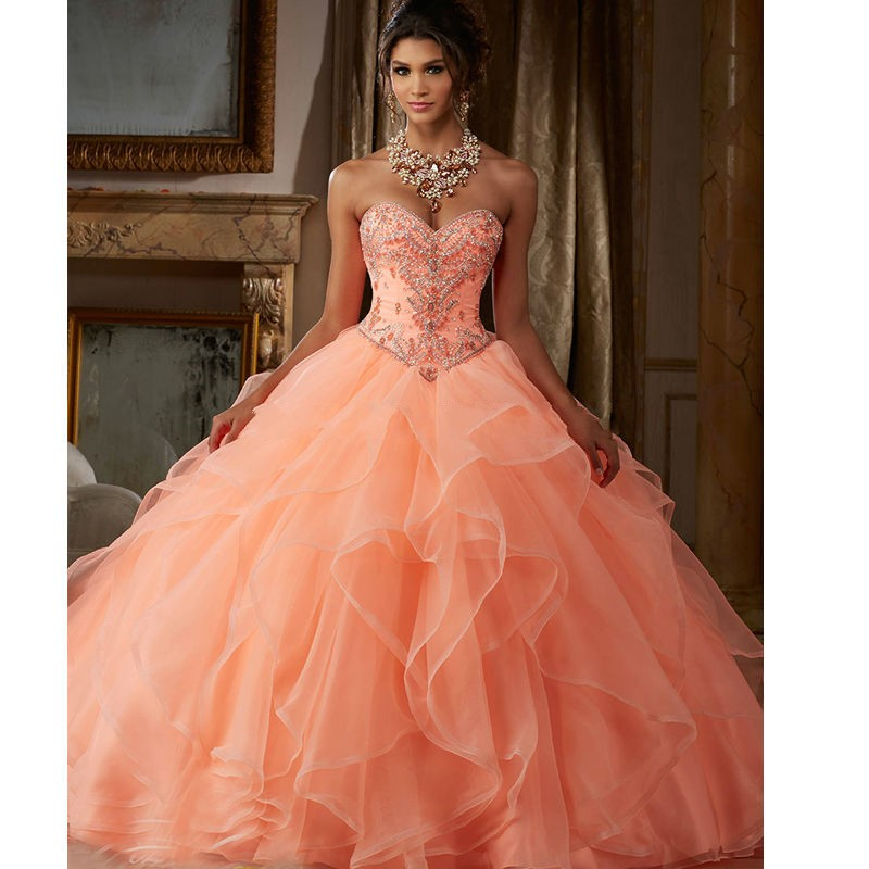 Beaded Cheap Organza Beach Wedding Dresses China Ball Gown: 2019 Sweet 15 Year Coral Quinceanera Dresses With Jacket