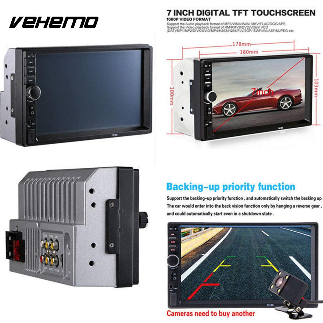 Vehemo MP5 Player 7inch FM/USB/AUX Remote Control 2DIN 7018B LCD Touch Screen Radio Support TF Card MP5 Automobile Rear View цена