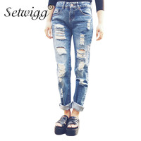 SETWIGG Womens Ripped Thick Cotton Denim Jeans Blue Washed Holes Boyfriend Style Female Casual Jeans Pants SG25