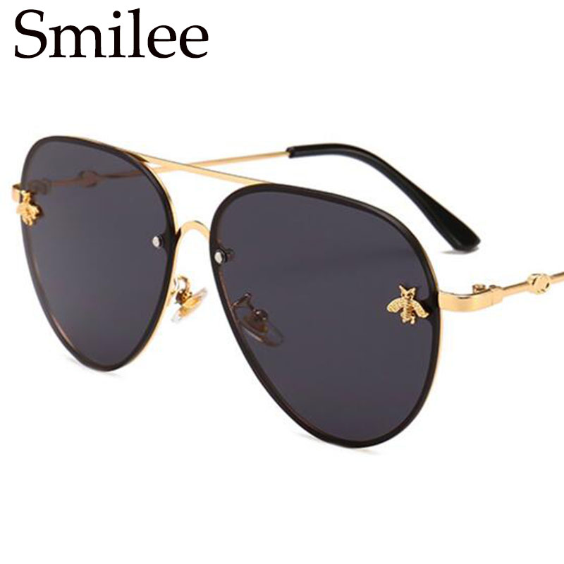 0003bec33 Luxury Brand Bee Aviatiors Sunglasses Women Gold Black Frame Sun Glasses  Mens Vintage Retro Designer Shades 2018 Trendy Glasses