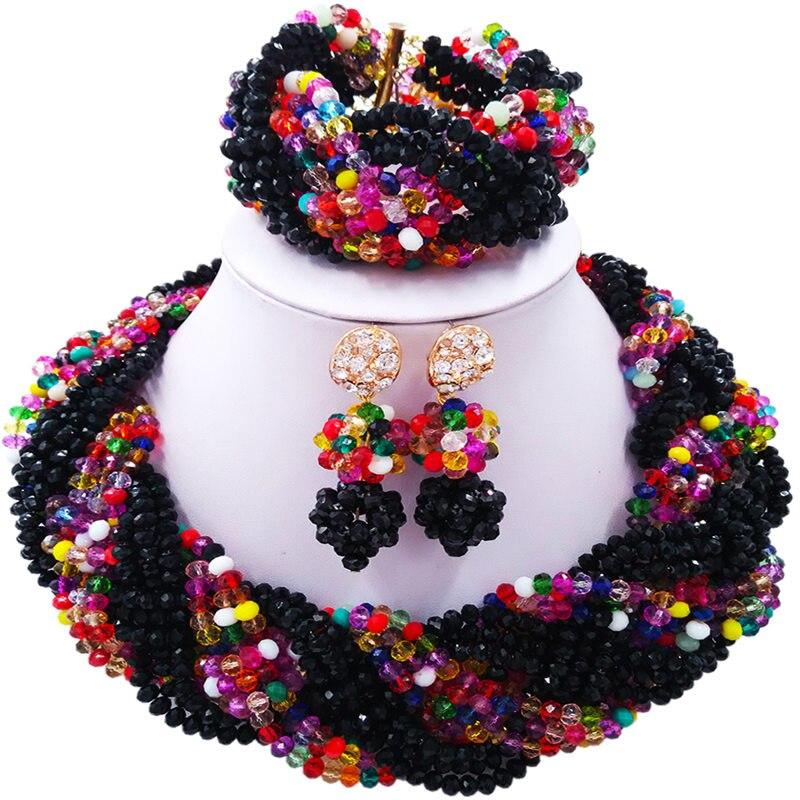 ACZUV noir et multicolore nigérian perles ensemble de bijoux collier de mariage africain 12C-006