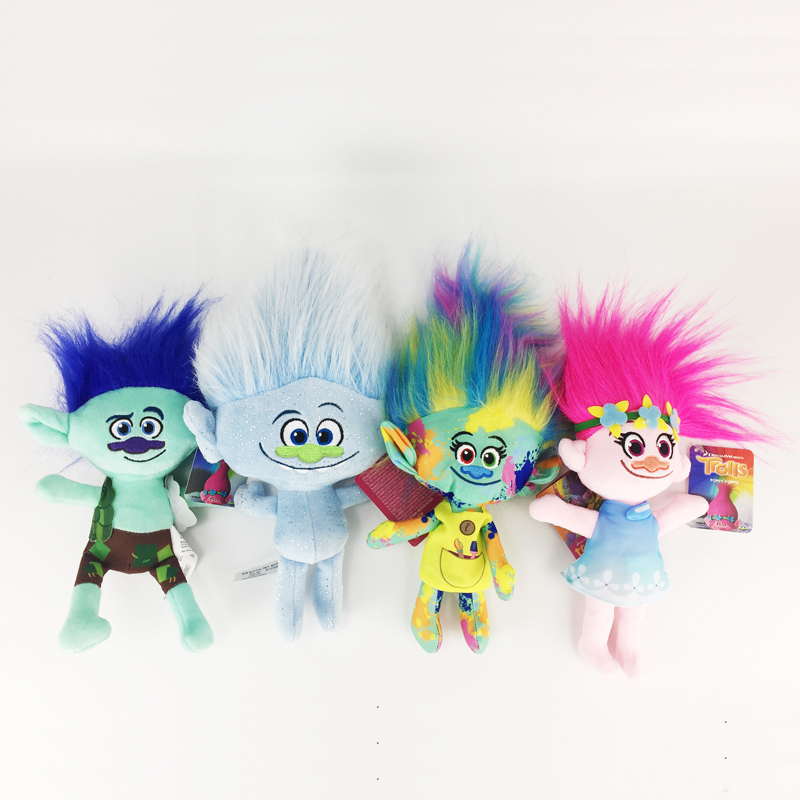25cm Movie Trolls Plush Toys Doll Magic Hair Poppy Branch Harper Guy Diamond Dream Works Stuffed Toys The Good Luck Trolls Gifts