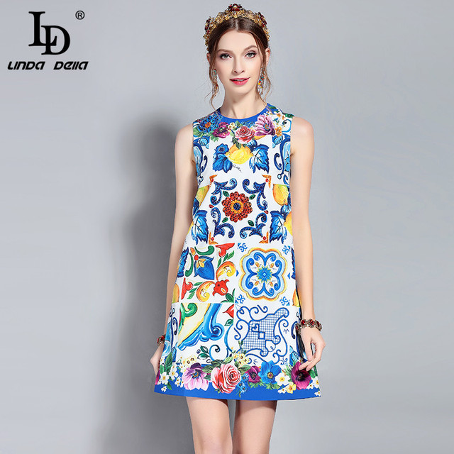 LD LINDA DELLA New Runway Summer Dress Women's Sleeveless Vintage Luxury Sequin Crystal Beading Floral Print Mini Short Dress