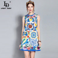 LD LINDA DELLA New Runway Summer Dress Women S Sleeveless Vintage Luxury Sequin Crystal Beading Floral