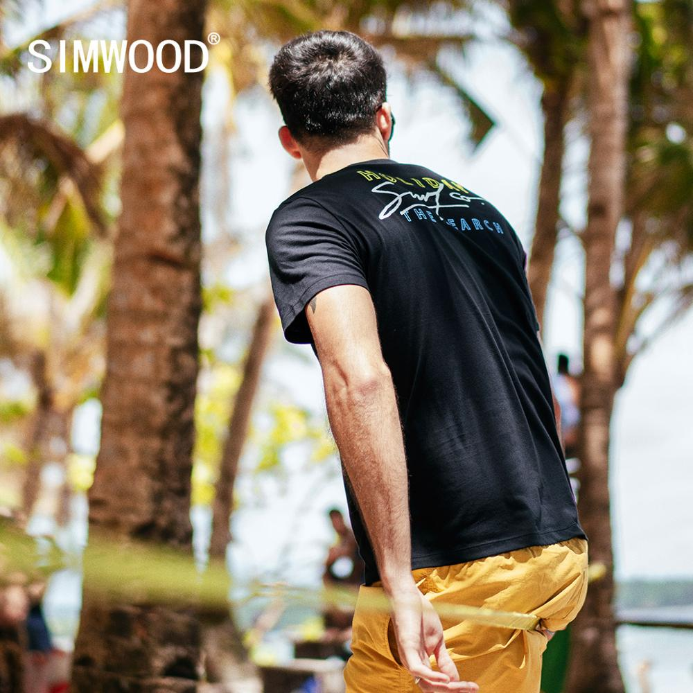SIMWOOD 2019 summer new 100% cotton   t     shirt   men fashion letter print thin Breathable   t  -  shirt   high quality holiday tops 190307