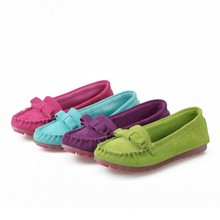 2015 Women's Spring Autumn bowtie casual Flat Shoes comfortable genuine leather Nurse Shoes Bowtie Moccasin Ommino 4 Colors