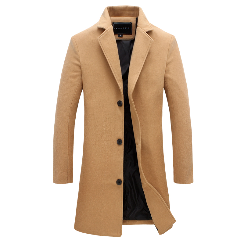 2018 Autumn And Winter Fashion New Men's Casual Long Coat Jacket / Men's Solid Color Single Breasted Long Windbreaker Trench