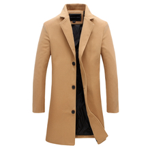 2018 Autumn and Winter Fashion New Men's Casual Long Coat Jacket / Men's Solid Color Single Breasted Long Windbreaker Trench(China)