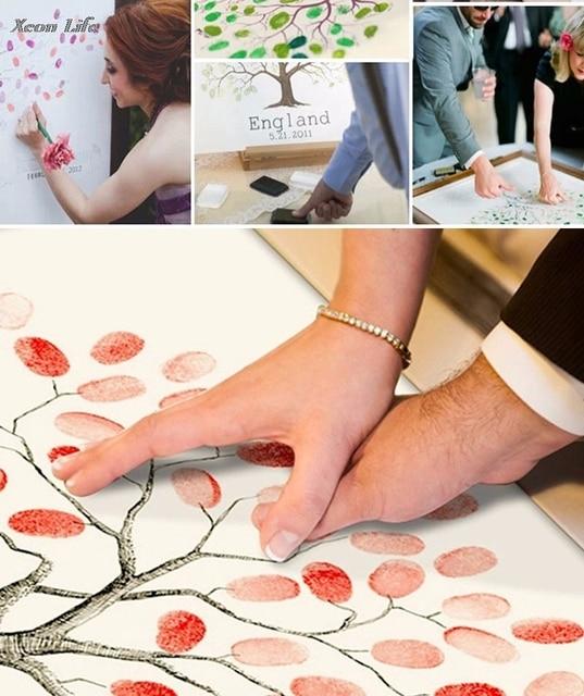 ZMHEGW Hot Wedding Tree Gust Fingerprint Canvas Guest Book Wedding Gift Decoration Party Supply Baby Shower Fingerprint Tree Ink