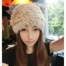 Шляп зима вязаная шапка тепловых хлопка крышки мода мультфильм кошачьи уши кролика hat меховой