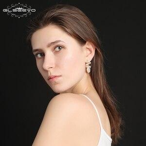 Image 5 - GLSEEVO Natürliche Frische Wasser Barocke Perle Ohrringe Für Frauen Pflanze Blätter Baumeln Ohrringe Luxus Handgemachtes Feine Schmuck GE0308