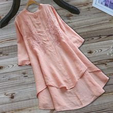 Women Dress 2019 Fashion Summer Ladies Casual Loose Long Sleeve Dresses Vintage Embroidered Solid Elegant Dress цены