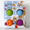 4pcs Baby Kids Soft Plastic Balls Mobile Squeaker Toy Early Educational Hand Development