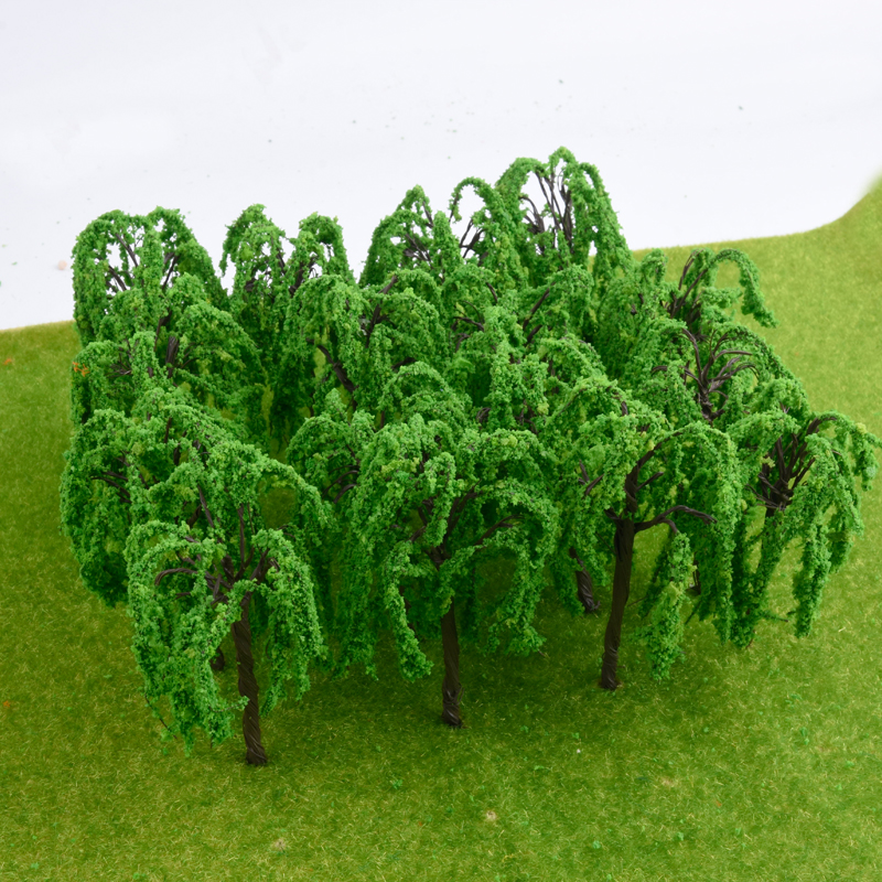 20pcs HO 1:100 Scale Iron Wire Model Trees Willow Rail Garden Park River Road Scenery Train Layout