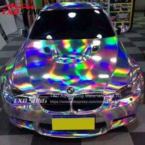 Image 4 - TXD ホット製品ホログラフィック虹フィルム箔車ラップビニール 20*149 センチメートル/ロット送料無料