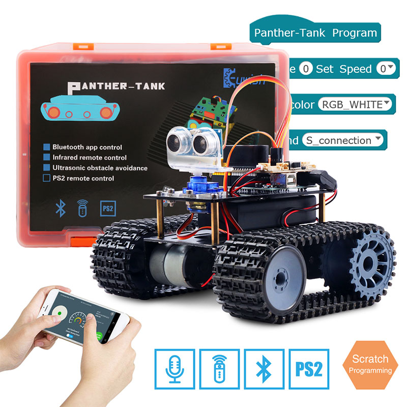 Keywish Tank Robot For Arduino Starter Kit Smart Car With Lesson APP RC Robotics Learning Kit Educational STEM Toys For Children