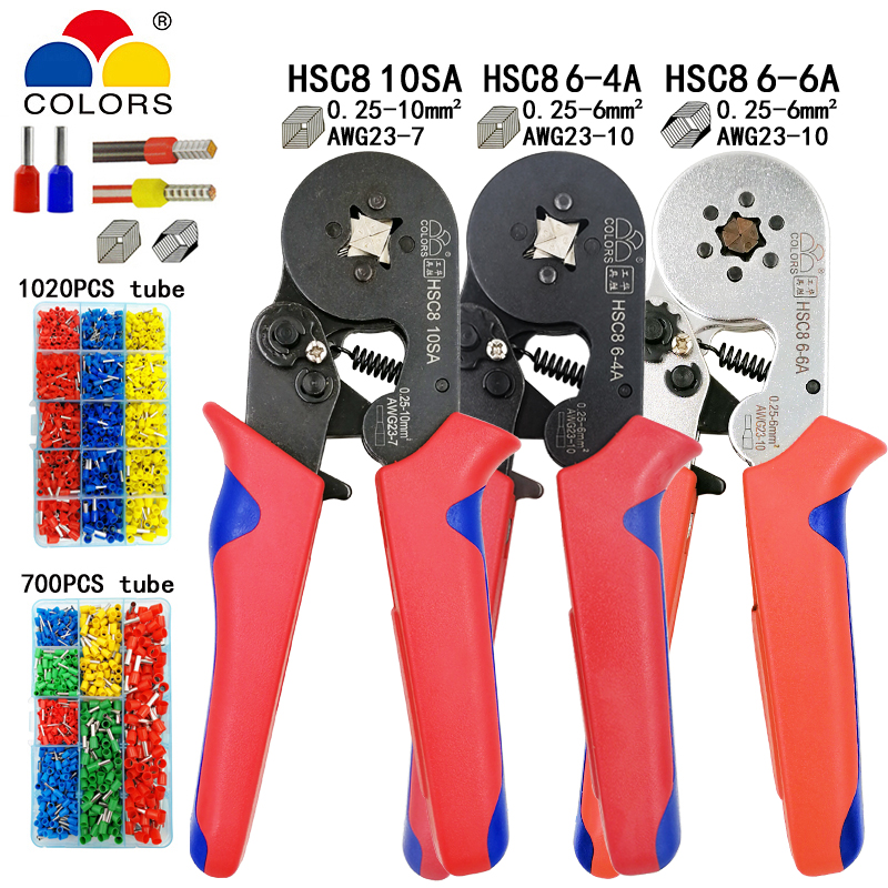 HSC8 10S 0.25-10mm2 23-7AWG crimping pliers HSC8 6-4A HSC8 6-6 mini round nose plier with tube needle terminals box hand tools
