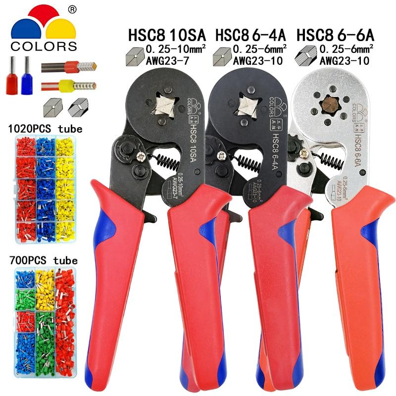 HSC8 10SA 0,25-10mm2 23-7AWG alicates HSC8 6-4A HSC8 6-6 0,25-6mm2 mini nariz redonda alicates tubo aguja terminales herramientas, caja