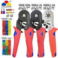 Tubolare terminal attrezzi di piegatura mini pinze elettriche HSC8 10SA 0.25-10mm2 23-7AWG 6-4A/6-6A 0.25-6mm2 di alta precisione morsetto set