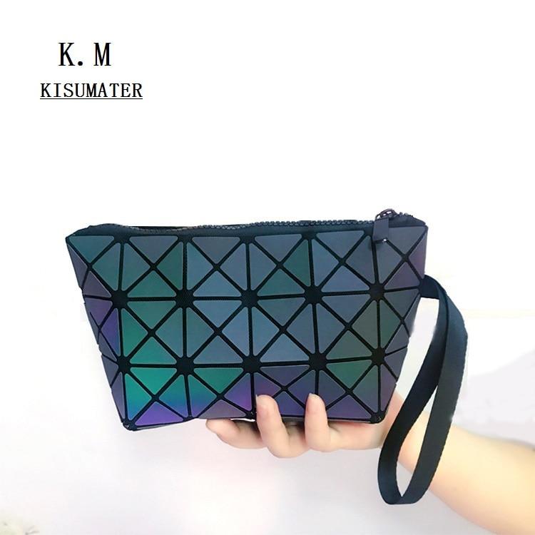 Luminous bag Multifunction Make-up Bag Folding Mini Purse Bag Travel Make up Geometric Handbags Free Shipping