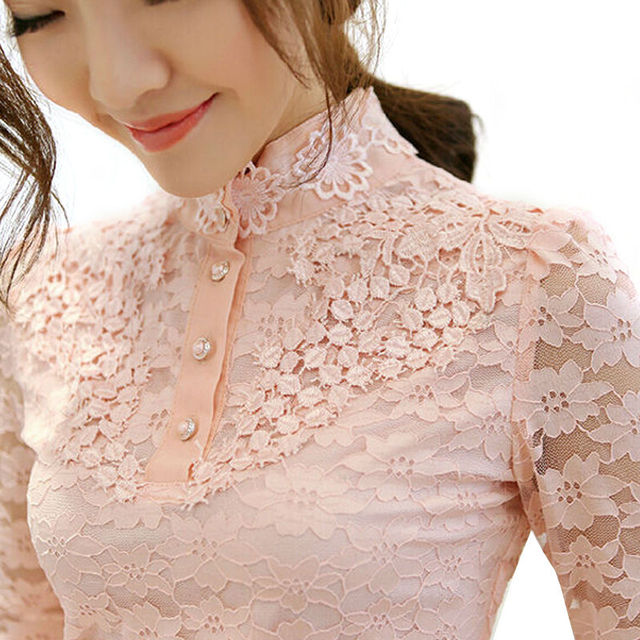 0f646fb8 Black Lace shirt blusa renda lace blouses ladies turtleneck women tops big  sizes clothing WD333