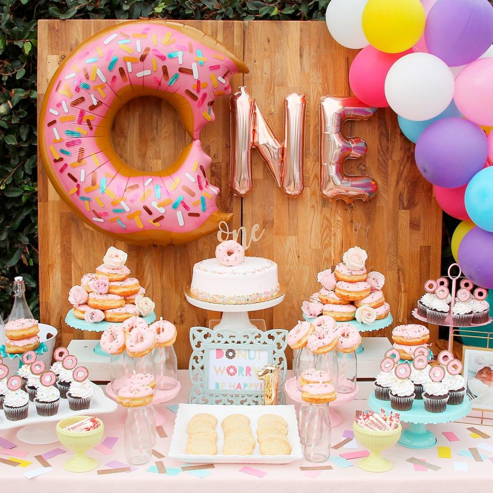 FENGRISE Donut Balloon Decoration 1st 1 Year Birthday Decoration Donuts Party Supplies Baby One Birthday Party Decor Kids in Party DIY Decorations from Home Garden
