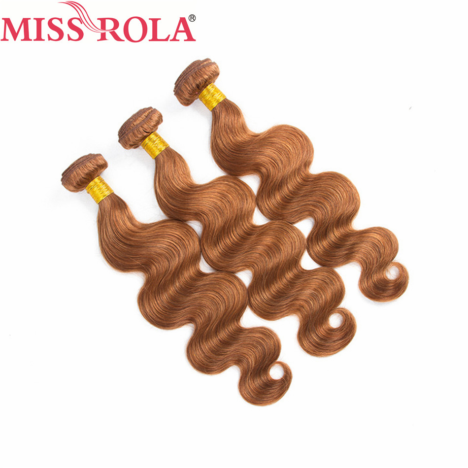 Miss Rola Hair Brazilian Body Wave Hair Weaving 3 Bundles #30 Color 10-24 Inch 100% Human Hair Bundles Non-Remy Hair Extensions