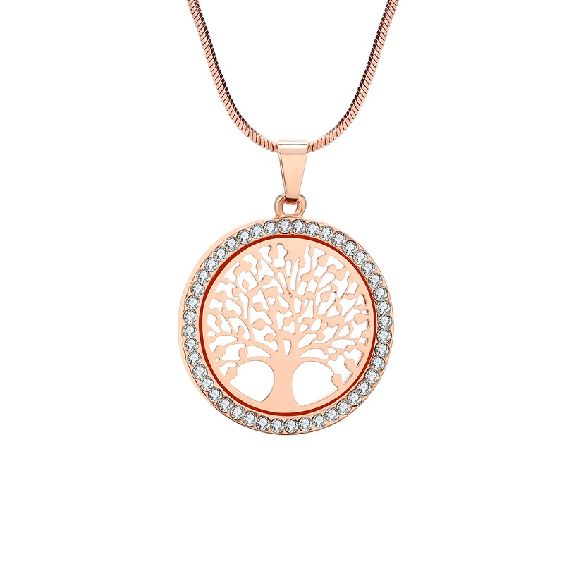Hot Tree of Life Crystal Round Small Pendant Necklace Gold Silver Colors Bijoux Collier Elegant Women Jewelry Gifts Dropshipping 5
