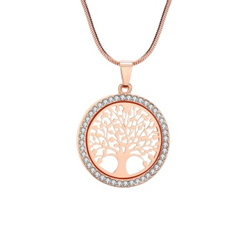 Crystal Round Small Pendant Necklace Jewelry Necklaces Women Jewelry Metal Color: Rose Gold Color