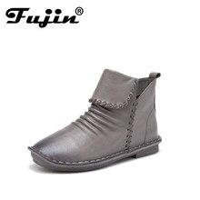 0977c2ffbd Fujin 2018 Genuína Mulheres De Couro Botas Moda Zipper Handmade Toes Rodada  Ankle Boots de Salto Baixo
