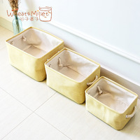3pce Zakka New Products Export Korean Cotton Linen Can Be Customized Office Multi purpose Canvas Cotton and Linen Storage Box
