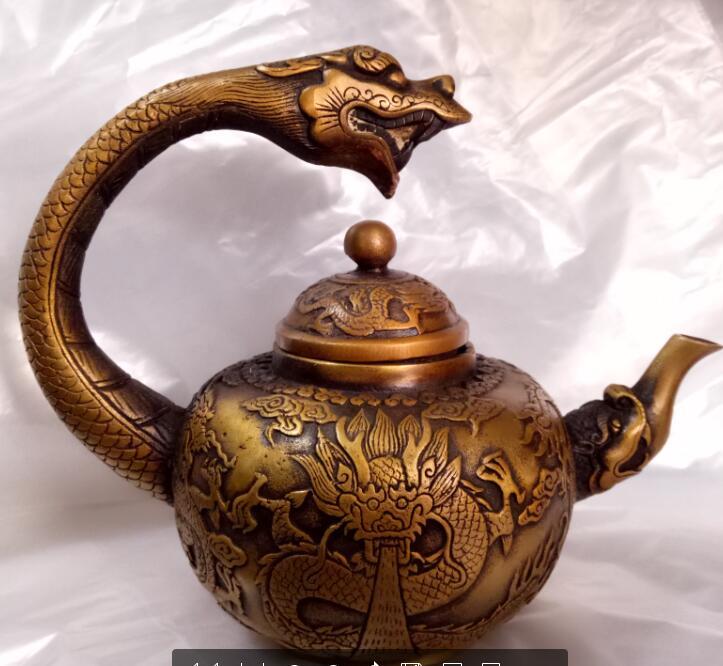 Collection chine travail manuel Sculpture cuivre dragon tortue théière